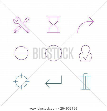 Vector illustration of 9 user icons line style. Editable set of minus, reload, sand clock icon elements. stock photo