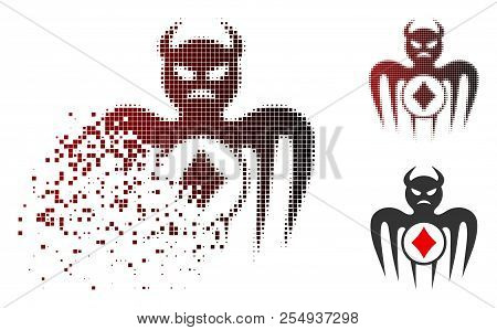 Gambling spectre devil icon in sparkle, pixelated halftone and undamaged entire versions. Elements are composed into vector sparkle gambling spectre devil icon. stock photo