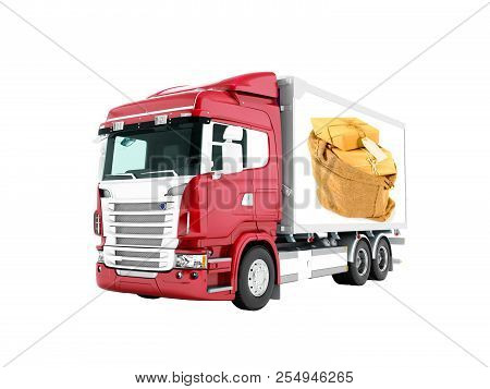 Modern red truck with trailer with white insets for mail transport 3D render on white background no shadow stock photo