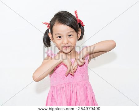 Portrait of beautiful asian cute girl smile stock photo