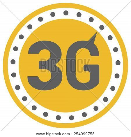 FLat 3g logo with speedometer icon . Dashed circle with arrow . stock photo