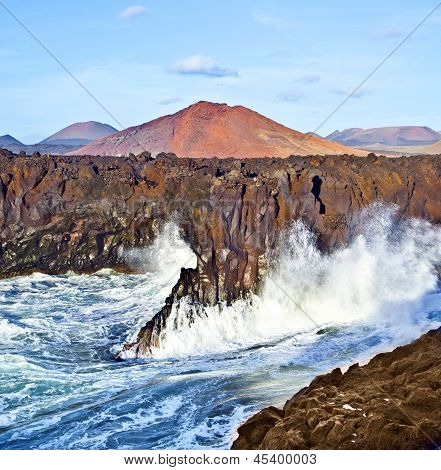 Los Hervideros coastline in Lanzarote with huge waves stock photo