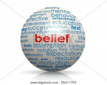 Belief sphere image with hi-res rendered artwork that could be used for any graphic design. stock photo