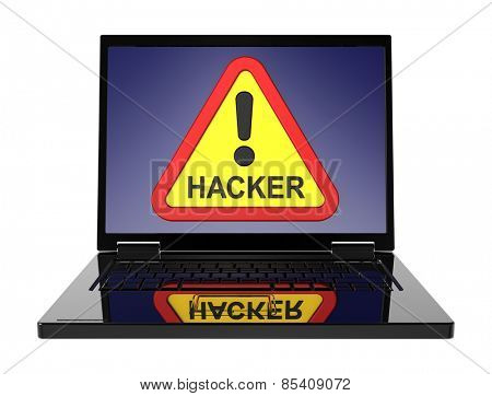 Hacker warning sign on laptop screen. Computer generated 3D photo rendering. stock photo