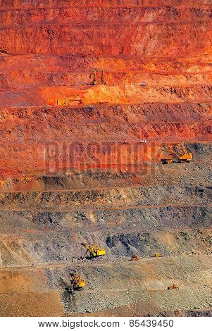 iron ore open pit mining quarry red brown stock photo