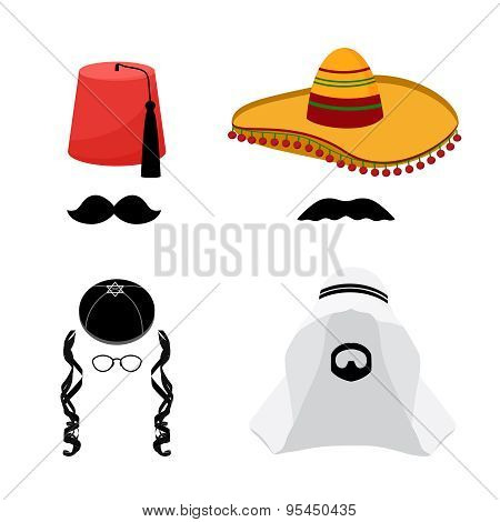 Turkish hat fez and mexican hat sombrero, arabic hat keffiyeh and jewish hat kipa, beard and mustache stock photo