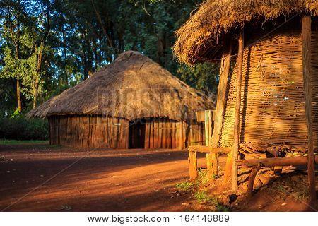 Traditional tribal village of Kenyan people Nairobi East Africa stock photo