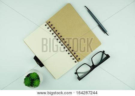 Top view of open notebook, eye glasses, plant and pen on white background.