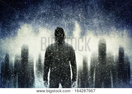 Group of mysterious gangster in scary night