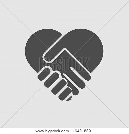 Hands shaking forming heart vector isolated icon eps 10. Handshake forming heart in hands. Care symbol. Love symbol.