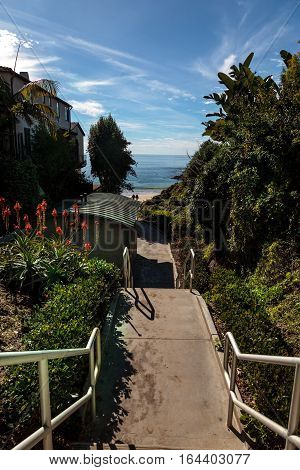 Steps to Shaw's Cove Beach in Laguna Beach, California, USA stock photo