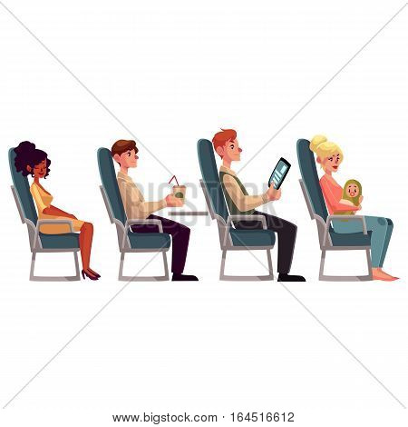 Various passengers, man and women in airplane seats, cartoon vector illustration on white background. Airplane seats occupied by men, drinking and reading, and women, sleeping and lulling a baby stock photo
