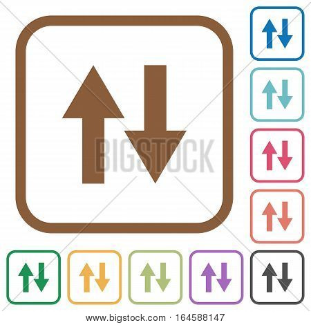 Data traffic simple icons in color rounded square frames on white background stock photo