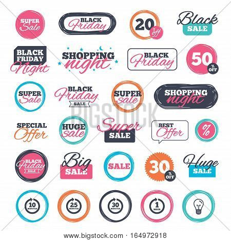 Sale shopping stickers and banners. Every 10, 25, 30 minutes and 1 hour icons. Full rotation arrow symbols. Iterative process signs. Website badges. Black friday. Vector stock photo