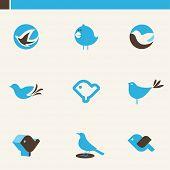 Set of cute blue birds. Icons set.