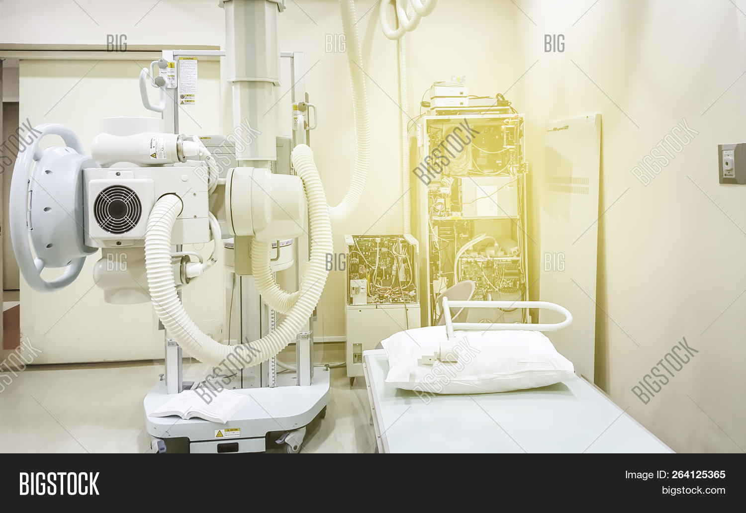 Maintenance  repairing and checking every 3 month X-ray machine / X-ray engine in the hospital. Services concept.