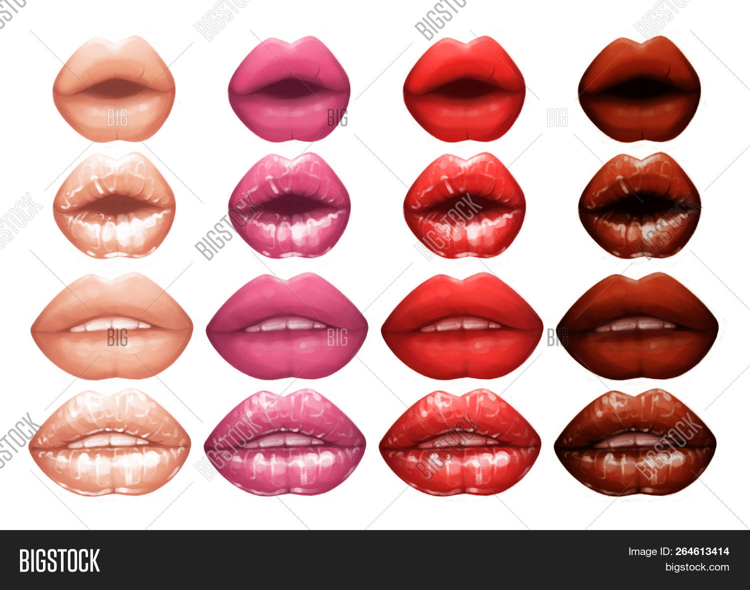 Realistic Lips Painted With Matte And Glossy Pink Lipsticks 264613414 Image Stock Photo