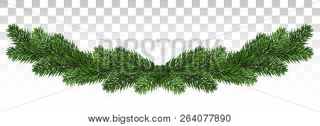 Christmas Garland With Fir Branches. Set Of Green Christmas Tree Branches Borders Isolated . Holiday