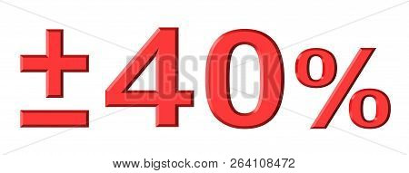 3d render of forty percent text with plus and minus isolated over white background stock photo