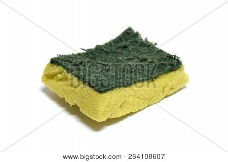 Scouring pad or Scourer isolated on white background stock photo