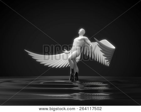 white angelic character rising from black liquid. 3d illustration stock photo