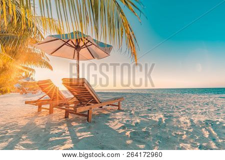 Perfect Sunset Beach. Idyllic Tropical Beach Landscape For Background Or Wallpaper. Design Of Summer