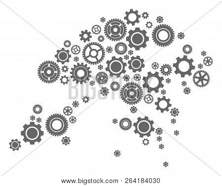 Map of Hong Kong composed with gray wheel symbols. Vector abstract collage of map of Hong Kong with work symbols. Engineering flat design for industry applications. stock photo