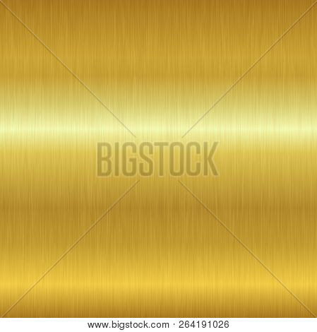 Seamless brushed metal texture. Vector golden background with scratches. stock photo