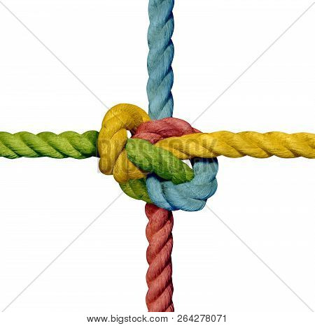 knot rope sling knotted tight colorful teamwork stock photo
