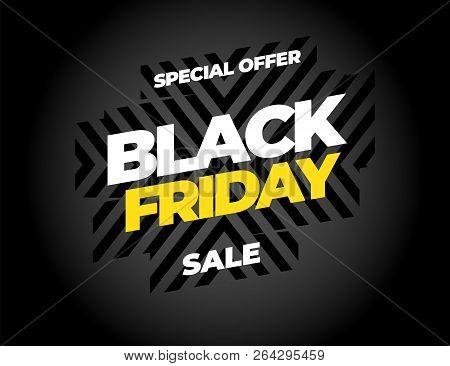 Black Friday sale inscription design template. Black Friday banner. Vector illustration. stock photo