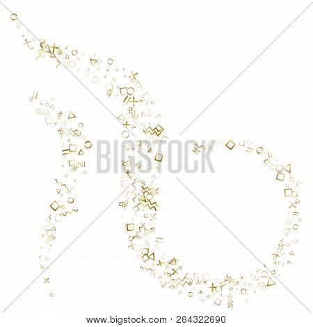 Memphis style gold geometric confetti vector background with triangle, circle, square shapes, chevron and wavy line ribbons. Small 80s style memphis gold yellow party confetti falling on white. stock photo