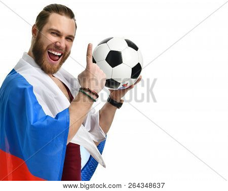 Happy man soccer fan wearing Russian flag and show number one winning finger smiling celebrating isolated on white background stock photo