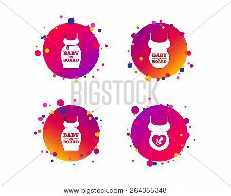 Baby on board icons. Infant caution signs. Child pacifier nipple. Pregnant woman dress with big belly. Gradient circle buttons with icons. Random dots design. Vector stock photo