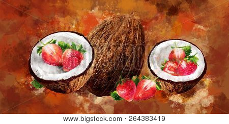 Watercolor coconut and strawberry on brown background stock photo