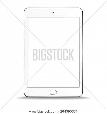 New Realistic White Tablet PC Computer with blank Screen Isolated on white Background. Can Use for Template, Project, Presentation or Banner. Electronic Gadget, Device Set Mock Up. Vector Illustration stock photo