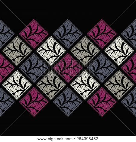 Seamless abstract geometric pattern. Paisley. Mosaic texture. Brushwork. Hand hatching. Can be used for wallpaper, textile, invitation card, wrapping, web page background. stock photo