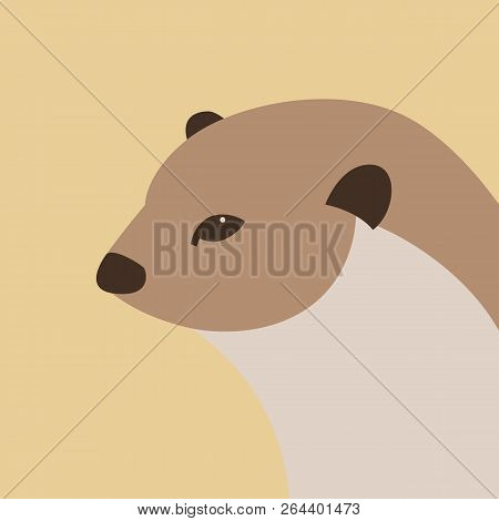 otter head vector illustration flat style profile side stock photo