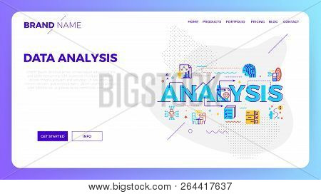 Analysis word lettering illustration with icons for web banner, flyer, landing page, article, etc. stock photo