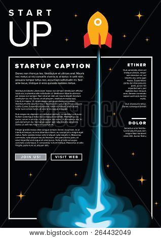 Startup infographic flyer template with rocket on black stock photo