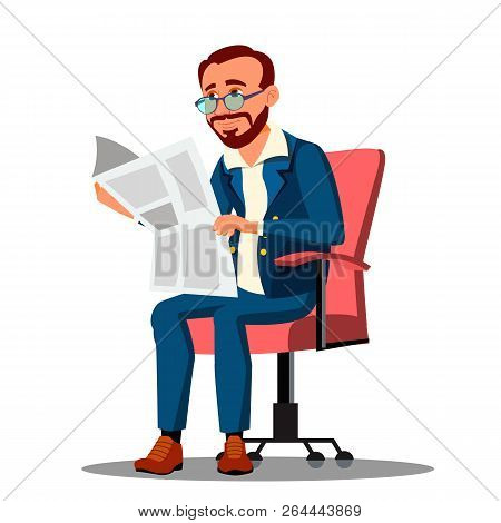 Businessman In Suit Reading A Newspaper In Comfortable Chair Vector. Isolated Illustration stock photo