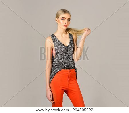woman maintaining fashion blog. Beauty and fashion look of vogue model. Fashion portrait of woman. Hipster woman with fashion makeup. Hip hop girl with fashionable hair. Young and beautiful. stock photo