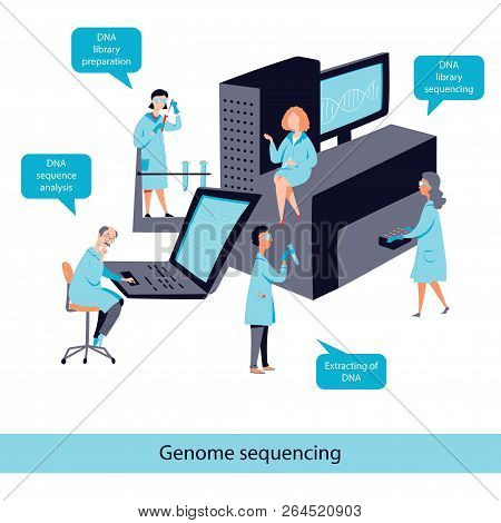 Genome sequencing flat vector concept, DNA test process stock photo