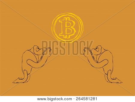 Rock painting. Ancient people worship bitcoin. Cryptocurrency Vector illustration stock photo