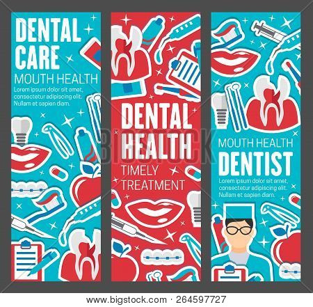 Dental care banners, dentistry medicine. Dentist doctor with teeth, oral hygiene tools and braces, implants, toothbrush and toothpaste, caries cavity and smile icons stock photo