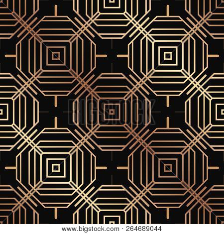 Art Deco Pattern. Seamless golden background. Minimalistic geometric design. Vector line design. 1920-30s motifs. Luxury vintage illustration stock photo