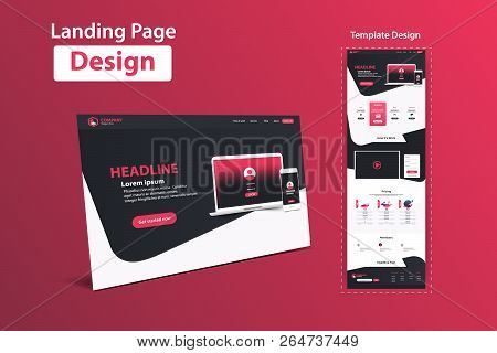 Website Landing Page Design Web Analytics Website Vector Template Design stock photo