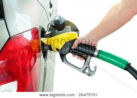 Closeup refuel gasoline in gas-station on white background stock photo