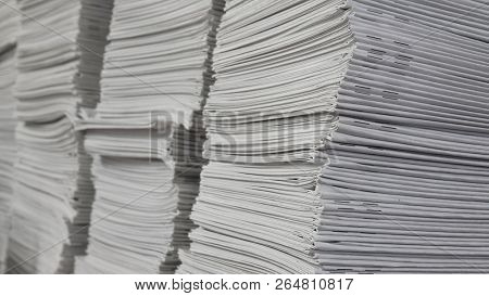 Paper books stack in printing or publishing company stock photo