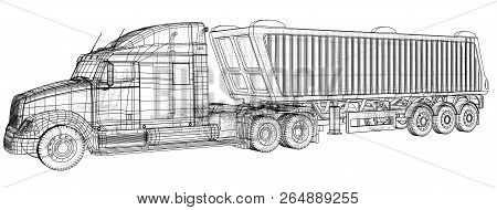 Vector dump truck. Tipper lorry on transparent background. racing illustration of 3d. EPS 10 vector format stock photo