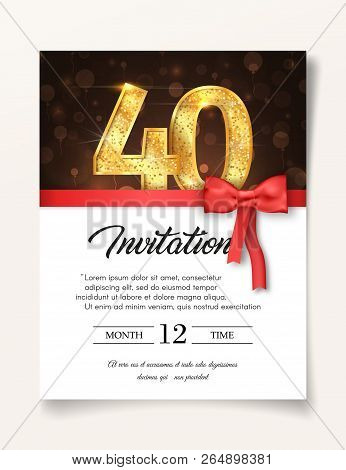 Wedding Invitation card template to the day of forty fortieth years anniversary with abstract text vector illustration. Invite to 40 th years eve jubilee stock photo